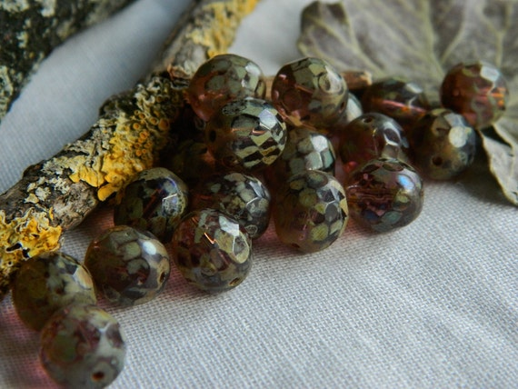 Picasso Czech Beads Glass Fire Polished Faceted Round 10mm  Amethyst with Heavy Olive/Toffee Picasso (12pcs)