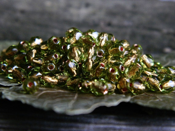 Czech Glass Beads Fire Polished Faceted Round  4mm Transparent Olive with Copper Lining  (100pcs)