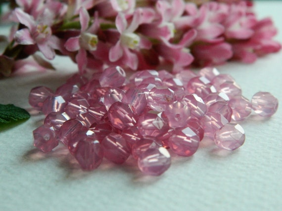 Czech Glass Fire Polished Round Beads 6mm Padparadscha OPAL (40pcs)