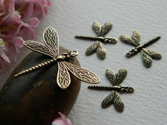 Brass Dragonfly Charms  Antique Brass TRINITY BRASS Mix of Sizes (4pcs)