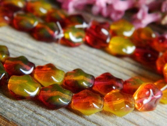 Nugget Beads Czech glass beads smooth NUGGET  9x8mm marbled translucent sunny topaz and transparent fuchsia (25pcs)