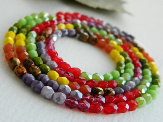 Czech Glass Beads Fire Polished Faceted Round  4mm Bright and Bold Summer MIX 2 (330pcs)