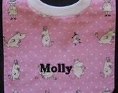 Moomin pullover bib, Muumi bib in pink Pikku Muumi fabric from Finland, Dimple Minky backing, Handmade certified