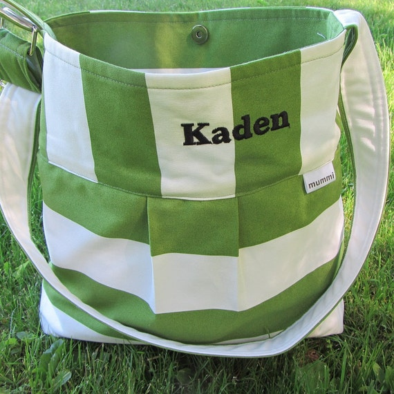 Custom personalized bag in striped canvas, 6 colors, large purse/tote, laptop, hobo, messenger,  Marimekko style, bridesmaid gift, nappy bag