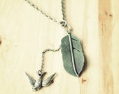 Lariat Leaf and Swallow necklace