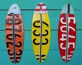 Terrific Triple Surf - Recycled License Plate Art - Salvaged Wood - Upcycled Artwork