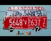 Superfantabulous Road Trip - Adventure ROADTRIP - Bus VW Cross Country - Recycled License Plate Art - Salvaged  - Upcycled Artwork