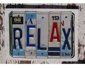 Funky Relax Word Block - Custom Words Available - Recycled Vintage License Plate Sign Art - Salvaged Wood - Upcycled Artwork