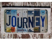 Funky Journey Word Block - Custom Words Available - Recycled Vintage License Plate Sign Art - Salvaged Wood - Upcycled Artwork