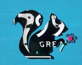 Too cute Stinky Pants Skunk - Spring Woodland Friend - Recycled Vintage License Plate Art - Salvaged Wood - Upcycled Artwork