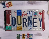 Our Journey - Funky Name Word Block Personalized Child's Name - Last Name - Wedding - Recycled Art Company - Vintage License Plate Sign Art