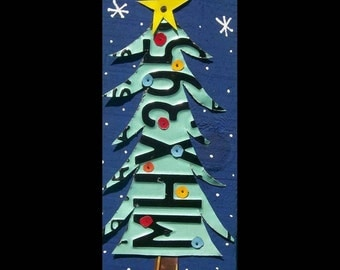 Funky Primitive Christmas Tree - Recycled License Plate Art - Salvaged Wood - Upcycled Artwork
