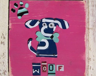 Funky Blue Dog on Pink - She would love to be your Valentine - Recycled Vintage License Plate Art - Salvaged Wood - Upcycled Artwork