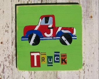 License Plate Art - Red Funky Transportation Truck - Recycled Art Company - Salvaged Wood - Upcycled Artwork