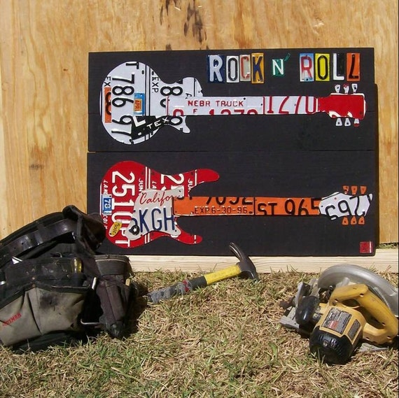 Rock and Roll Personalized Guitars - Pick your own states - Vintage Recycled License Plate Art - Salvaged Wood - Upcycled Artwork