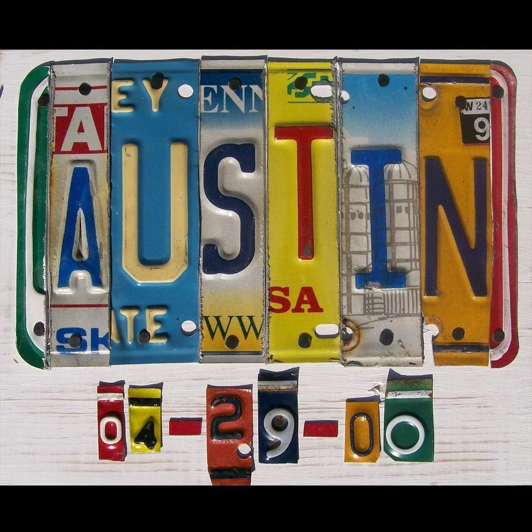 Personalized License Plate Art Sign Wedding Recycled
