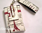 Japanese Vintage Ivory Natural  Rose and Black or Dusty Blue Artist's Paris Eiffel Tower Phone Case with Wristlet iPhone 4 5 6 Plus Note
