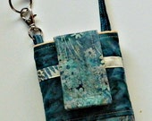 Teal and Tan Flowers and Leaves Batik Phone Case with Wristlet