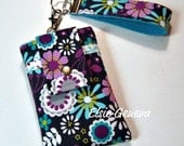 Gray, Purple, and Aqua Flowers Phone Case with Wristlet