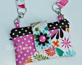 Magenta Pink Aqua Floral  Yellow Phone Pouch Satchel Back Zipper Pocket  iPod Case  iPhone 4 5 6 Android Samsung