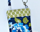 Navy Blue Aqua and Olive Sage Green Dots Phone Case with Zipper Closure and Wristlet iPhone 4 5 6 Plus Note