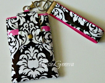 Sale 50 Percent Off Brown and White Damask with Hot Pink Accents iPhone / Phone Case with Wristlet Ready to Ship