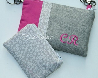 Personalized Solid Grey Japanese Linen and Hot Pink Phone Case Pouch Purse Satchel Crossbody  Shoulder Strap iPhone 4 5 6 Plus Note