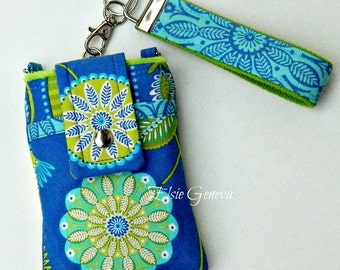 Periwinkle Blue and Lime Green Aqua Bandana Phone Case with Wristlet Optional Shoulder Strap iPhone 5 6 Plus Note