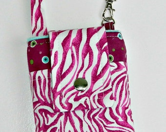 Zebra Print Phone Case Magenta  Fuchsia Hot Pink  Zebra Animal Print Phone Case Wristlet iPhone 5 6 Plus Samsung Optional Shoulder Strap