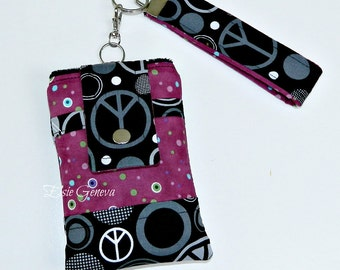 Black and Magenta / Purple Peace Sign & Dots Phone Case with Wristlet - iPhone Samsung