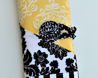 Black and White and Yellow Damask or Purple Pink Orchid Option Spill Proof Knitpicks Interchangeable Knitting Needle Organizer