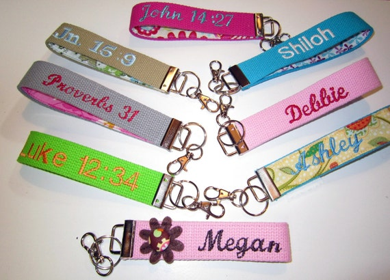 """Design Your Own 10"""" Diameter, Japanese Fabric Personalized Key Chain, Fob, Wristlet, Monogram or Name, Scripture, Etc..."""
