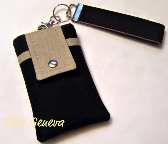 SALE Solid Black or Black Swirls and Taupe Phone Case with Wristlet with Back Zipper Pocket or Black Ready to Ship