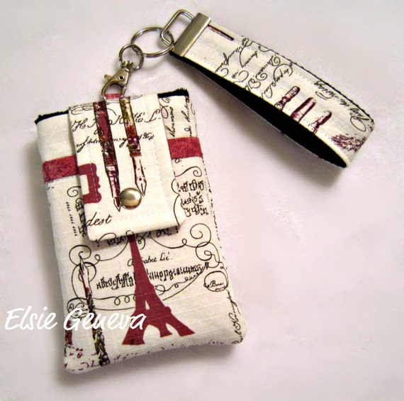 Japanese Vintage Ivory, Rose, and Black Artist's Eiffel Tower Phone Case with Wristlet