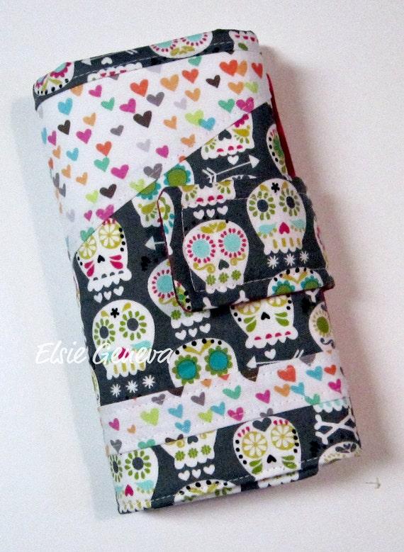 Bonehead Skulls and Hearts & Dots Crochet Hook Case / Organizer with Zipper Pocket