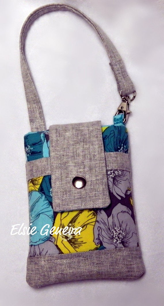 Gray Japanese Linen with Aqua, Teal, and Honey Gold Floral iPhone Case with Wristlet Ready to Ship