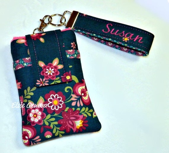 Personalized Scandinavian Emerald Green & Pink or Orange Floral Phone Case with Wristlet