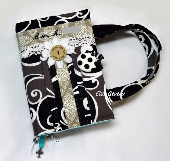 Made to Fit Personalized Black White Taupe and Aqua and Lace Bible or Journal Cover / Purse