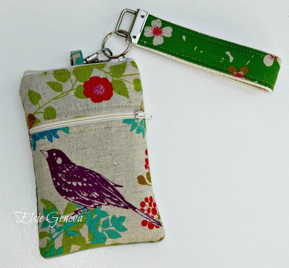Natural Japanese Bird Fabric Phone Case with Wristlet and Zipper Closures Ready to Ship