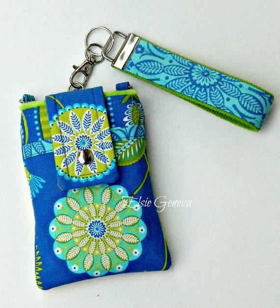 Periwinkle Blue, Aqua and Lime Phone Case with Wristlet