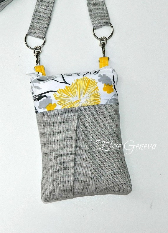 Solid Gray Japanese Linen and Yellow Floral  Skirt Phone Case with Shoulder Strap -Satchel - Hipster - Crossbody