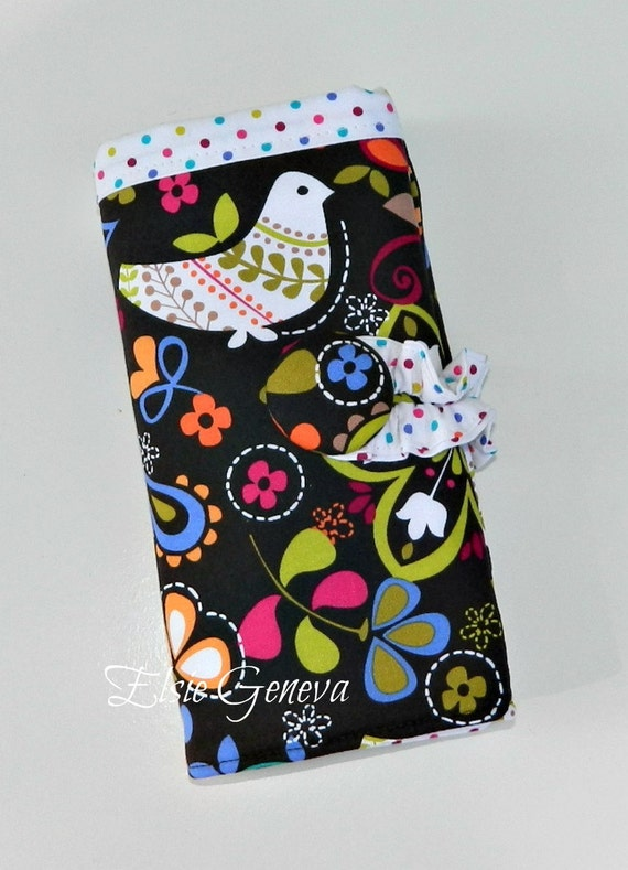 Brown Floral & Birds Crochet Hook Organizer / Case with Finishing Needle Holder and Zipper Pocket / 20 Pockets