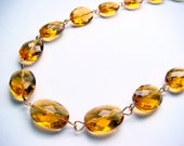 Cyber Monday Etsy Anna Wintour Necklace Amber Topaz Colored Gem Crystal Necklace - The September Issue Cyber Monday Sale