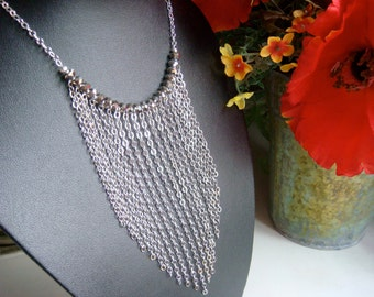 Silver Fringe Necklace - Silver Frill Necklace With Crystals - Fringe Benefits