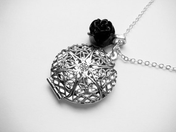 Filigree Round Locket With Black Rose Long Silver Necklace - The Black Rose