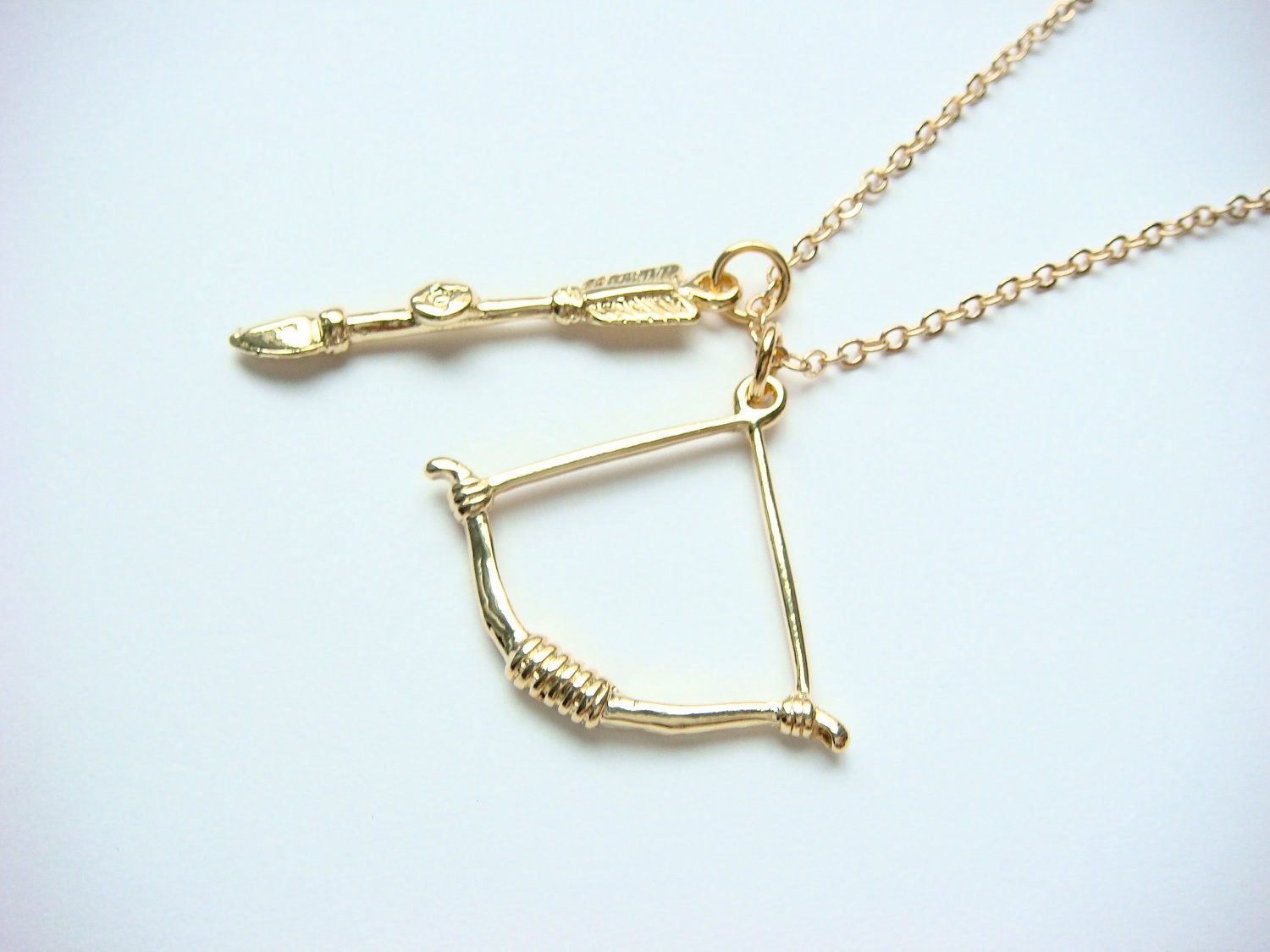Hunger Games Necklace Katniss Everdeen Gold Bow And Arrow Gold Bow And Arrow