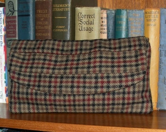 Brown Woven Plaid Clutch