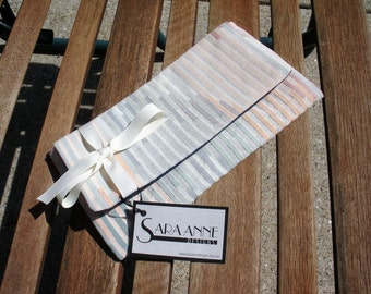 Striped Pastel Clutch with Bow