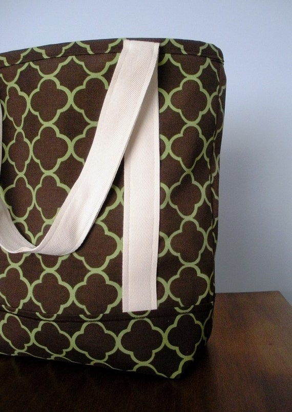 Brown and Green Tote Bag