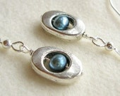 Oval silver and blue pearl dangle earrings